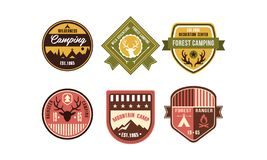 Wilderness camping retro logo badges set, reindeer camping, forest ranger, mountain camp, recreation center vintage stock illustration