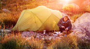Wilderness explorer camping Royalty Free Stock Images