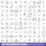 100 wilderness icons set, outline style. 100 wilderness icons set in outline style for any design vector illustration Royalty Free Stock Photography