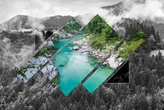 Wilderness in mountains, poly scape landscape. Polyscape nature background Royalty Free Stock Photos