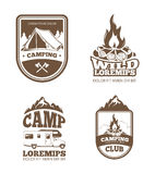 Wilderness and nature exploration vintage vector labels, emblems, logos, badges Stock Photography