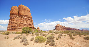 Wilderness and rock formations in Arches National Park, USA Royalty Free Stock Images