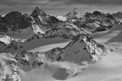 Wilderness skiing and the Matterhorn Stock Images