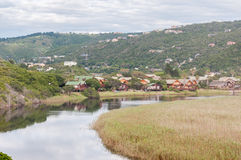 Wilderness town and lake area. GEORGE, SOUTH AFRICA - JANUARY 5, 2015: View across the  Wilderness town and lake area Stock Image