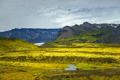Wilderness in Vatnajökull National Park at South part of Iceland, summer time royalty free stock image
