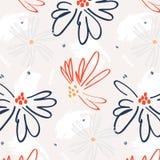 Wildernisart. Het botanische patroon van het bloemencanvas Beste eigentijds behang Arty hipsterdecoratie Herhaal bloemen mede eil vector illustratie