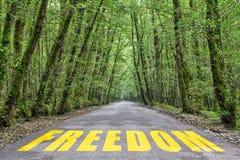 wildernisweg aan vrijheid stock foto