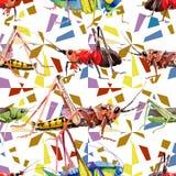 Wildes Insekt der exotischen Grillen in einem Aquarellartmuster Lizenzfreie Stockfotos
