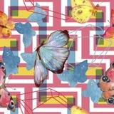 Wildes Insekt der exotischen Schmetterlinge in einer Aquarellart Nahtloses Hintergrundmuster stock abbildung