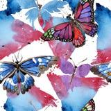 Wildes Insekt der seltenen Schmetterlinge in einer Aquarellart Nahtloses Hintergrundmuster Gewebetapeten-Druckbeschaffenheit Stockfotos