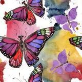 Wildes Insekt der seltenen Schmetterlinge in einer Aquarellart Nahtloses Hintergrundmuster Gewebetapeten-Druckbeschaffenheit Lizenzfreies Stockfoto