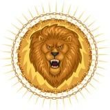 Wildes Löwe-Emblem Stockbild