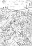 Wildes Leben in der Wüste gezeichnet in Linie Kunstart Malbuchseitendesign stock abbildung