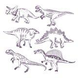 Wildes Leben mit Dinosauriern Hand gezeichnete Illustrationen stellten von t-rex und von anderen Dino-Arten ein vektor abbildung