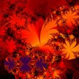 Wildes rotes und schwarzes abstraktes Hintergrundauslegung mit Blumentempalte Stockbild