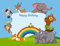 Wildes Tier auf Geburtstagsschablone lizenzfreie abbildung