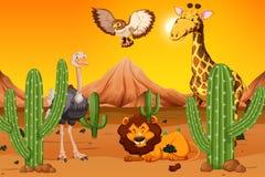 Wildes Tier an der Wüste lizenzfreie abbildung