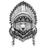 Wildes Tier des großen wilden Bären des Grizzlybären, das indischen Hut Kopfschmuck mit ethnisches Bild Federn Boho Stammes- illu stock abbildung
