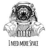 Wildes Tier Wilde Katze Löwe Astronaut Raumanzug Übergeben Sie gezogenes Bild des Löwes für Tätowierung, T-Shirt, Emblem, Ausweis vektor abbildung