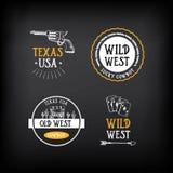 Wildes Westausweisdesign Weinlesewestelemente Vektor mit GR Stockfotos