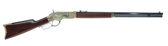 Wildes Westhebelwirkungs-Gewehr graviert lokalisiert auf weißem Backgrou lizenzfreie stockfotografie