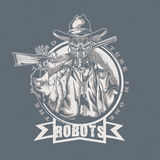 Wildes Westt-shirt Aufkleberdesign mit Illustration des Robotercowboys Stockbilder