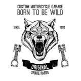 Wildes Wolf Vektorbild für Motorradt-shirt, Tätowierung, Motorradclub, Motorradlogo vektor abbildung