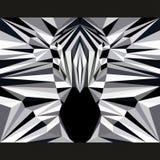 Wildes Zebra starrt vorwärts an Natur und Tierlebenthemahintergrund Abstrakte geometrische polygonale Dreieckillustration Stockfoto