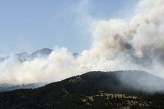Wildfire!. A huge wildfire burns in Four Mile Canyon, just Northwest of Boulder, Colorado, USA stock images