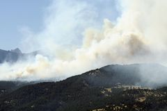 Wildfire!. A huge wildfire burns in Four Mile Canyon, just Northwest of Boulder, Colorado, USA royalty free stock photo
