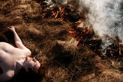 wildfire Brand Het globale verwarmen, milieucatastrofe Conce Royalty-vrije Stock Fotografie