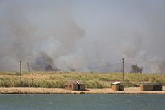 Wildfire burns field and cane and it approached to reed shacks standing on the shore of the river Stock Photography