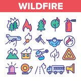 Wildfire, Bushfire Vector Thin Line Icons Set vector illustration
