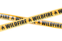 Wildfire Caution Barrier Tapes, 3D rendering Royalty Free Stock Photos