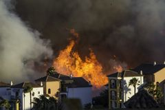 Wildfire in Spain. Wildfire close to residential area in Southern Spain Royalty Free Stock Photo