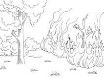 Wildfire de grafische zwarte witte vector van de de schetsillustratie van het bosbrandlandschap royalty-vrije illustratie