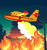 Wildfire firefighter plane or fire aircraft jet extinguish fire, poster or banner  illustration Royalty Free Stock Images