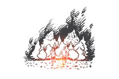 Wildfire, gevaar, vlam, bos, rampenconcept Hand getrokken geïsoleerde vector stock illustratie