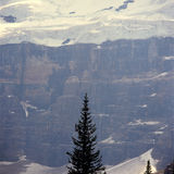 Wildfire haze obscuring the Victoria Glacier, Banff National Park, Alberta royalty free stock photo