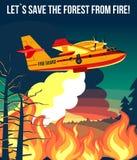 Wildfire het brandbestrijdersvliegtuig of de straal van brandvliegtuigen dooft brand, affiche of bannerillustratie royalty-vrije illustratie