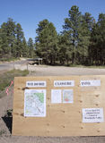 Wildfire information. Roadside notice board with information of road and area closures due to the Little Sand wild fire in the San Juan National Forest near Royalty Free Stock Photo