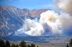 Wildfire June Lake Loop Spreading. Start of Wildfire by June Lake Loop in California Eastern Sierras Royalty Free Stock Images