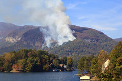 Wildfire at Lake Lure Chimney Rock in North Carolina Royalty Free Stock Image