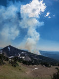 Wildfire in mountains in Oregon Royalty Free Stock Image