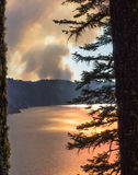 Wildfire near Crater Lake in Oregon Stock Images