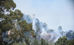 Wildfire over Grizzly Peak in Oakland Royalty Free Stock Image
