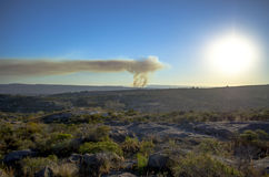 Wildfire panoramic view Stock Images