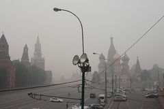 Wildfire's smog cover the Moscow. The Kremlin is seen through the smog covering Moscow. Wildfire's smog was back to the capital of Russia Royalty Free Stock Photo