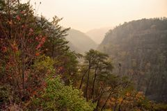 Wildfire Smoke with Hazy Sky at Tallulah Gorge Georgia. A nearby wildfire creates a smoke filled sky and landscape at Tallulah Gorge in Tallulah Falls Georgia stock photo