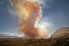 Wildfire Smoke In The Owens Valley. Wildfire smoke near Pleasant Valley Campground in the Owens Valley with the sun barely shining through it royalty free stock photos